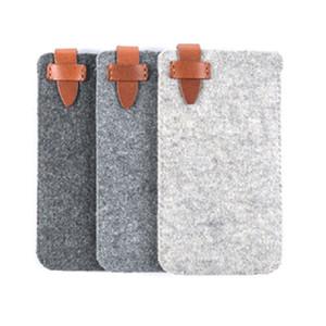 Универсальный телефон сумка Войлока сумки с кожаным Закрытием для iPhone Huawei ручного войлока сумки Защитной сумки Рукав карта карманной Обложка