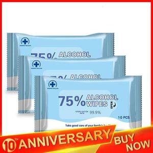 10pcs / pack 75% Alcool Wet tamponi antisettici pulizia sterilizzazione Cura delle mani di pulizia Wet sterilizzazione Salviettine Disinfezione Salviette FY2021