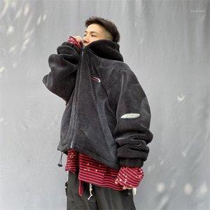 Designer Jacken Mode Lose Zipper Panelled Herren Lammwolle mit Kapuze Mäntel Lässige Männer Kleidung Letter Print Mens