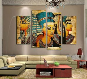 4pcs / set 이집트 파라오 (프레임 없음) 캔버스 회화 그림 벽 장식 유화 그림 추상 그림 장식 거실
