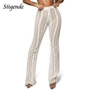 Femmes Summer Beach Tricoté évider Pants Voir à travers une maille crochet Pantalon évasé Sexy Party Pantalon moulante Clubwear