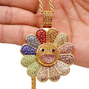 Hip Hop Voll Zirkonia Sunflower Halskette können wir drehen mit Twisted-Seil-Kette Männer Frauen Kind Geschenke