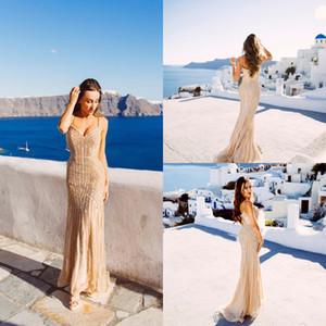 Images Réelles Champagne Arabe Robes De Soirée 2020 Élégant Col En V Sans Manches Sexy Cristal Formel Perles Parti Longues Robes De Bal pour Femme