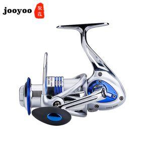 O pré-carregamento de giro da roda 14 do eixo todo em metal Pesca rolamento Rolo âncora peixes carretel duplo medusa roda Reservatório Pond jooyoo