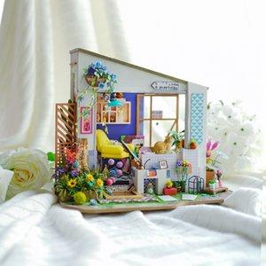 شرفة مغطاة Robotime جديد DIY ليلى مع أثاث الأطفال الكبار مصغرة خشبي بيت الدمية بناء نموذج مجموعات دمية لعبة DG11 MX200414