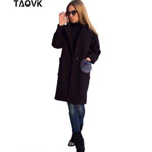 TAOVK Kadınlar uzun palto uzun kollu yaka ceket bir kürk topları ile Cepler palto