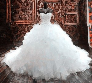 Luxury Beaded Embroidery Ball Gown Wedding Dresses Princess Party Gowns Corset Sweetheart Organza Ruffles Cathedral Train Bridal Gowns