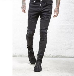 Hommes râpées plissés Slim Straight Jeans vélo rigide Skinny Jeans Homme Casual Torn Jeans Taille Noir Bleu