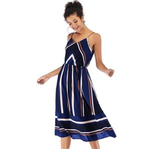 Pescoço V vestidos de chiffon Womens Médio Longo vestido Mulheres Verão Designer Vestidos Stripe Moda Painéis Strap Spaghetti