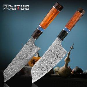 XITUO دمشق الصلب مطبخ الشيف سكين يقطع قطعة السمك القواطع جابانيس ستيك سكين حاد Santoku المساعدة Gyuto Kiritsuke الأبنوس مقبض