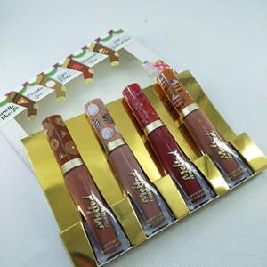maquiagem HOT Natal batom o cheiro doce do Natal trata liquefeito Batom Set derretido Matte Lip Gloss 4 cores grupo do presente.