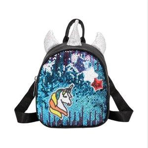 Meloke 2019 novas mulheres bling mochilas encantadoras orelhas mochilas de viagem casuais unicórnio multifuncional sacos de transporte da gota M464