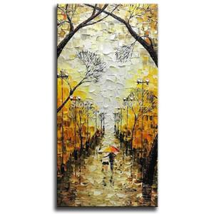 Большие Вертикальный Artwork 100% ручная роспись маслом на холсте Night Street Art Пейзаж Картины Современные Аннотация Wall Art SH190919