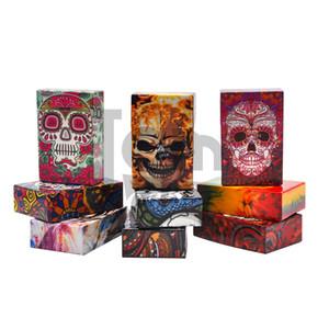 Fashion Sugar Skull Design Flip Open Plastic Cigarro Cigarrillo caja de la caja de cigarrillos titular de la pipa de tabaco de tabaco contenedor de almacenamiento de la caja