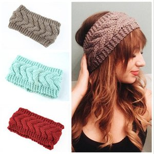 Kid Knitted Headbands Girl Candy Color Elastic Thickened Headband Lady Crochet Turban Winter Warm Ear Hair Band Accessories WY223Q-3