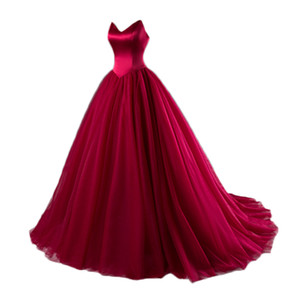 wholesale Sexy Burgundy Prom Dresses 2018 Sexy V Neck Tulle Prom Dress Strapless Court Train Evening Gown