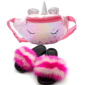 Fur Slides Slippers Women Female Shoes Unicorn Purses and Fur Sandale Set Furry Bag Purse Fluffy Slippers Set