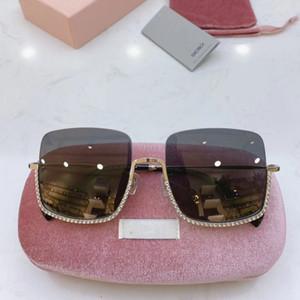 Marco del diamante de gran tamaño sin montura gafas de sol de las mujeres cuadradas de metal lente clara de gafas de sol Gafas de sol de la vendimia señoras de Sombras