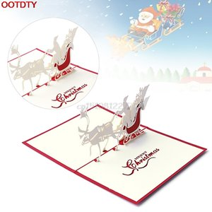 Kart Noel Süsleri 3D Yukarı Tatil Kartları Noel Babanın Kızak Geyik Şükran Hediye Noel Tebrik Kartları Tebrik