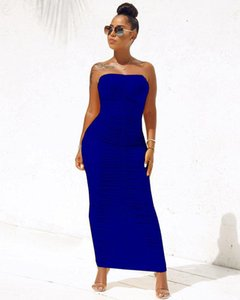 Womens Dresses Solid Color Ankle Length Women Dress Casual Fashion Party Ladies Clothing Strapless Sexy Pleated