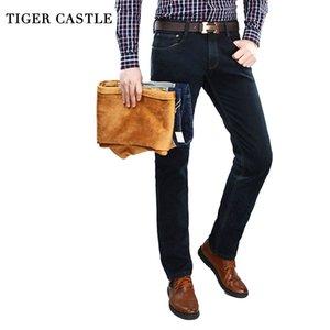Calças quentes TIGER CASTELO Mens Inverno Velo Jeans clássico estiramento quentes flanela Denim Pants Elastic masculinos Jeans Designer Femininos