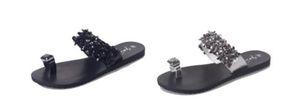 Новые женщины Тапочки лето пляж клип Toe Вьетнамки Сандалии с Rhinestone моды дамы Flats обувь Slip-On Повседневная обувь Flats Тапочки