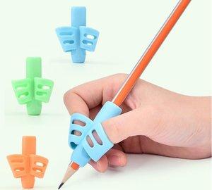 3pcs / 세트 어린이 연필 홀더 도구 실리콘 두 손가락 인체 공학적 자세 보정 도구 연필 그립 작성 보조 그립 SN281