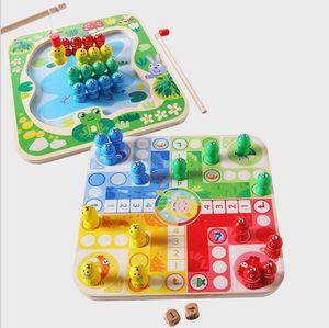 Kinderholzwasserlösliche Farbe Magnetic Early Education Lernspielzeug Fun Fishing Fliegen Schach-Spiel Kombination