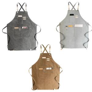 Canvas cozinhar o avental de Barista Bartender Chef cabeleireiro avental Catering Work Wear Uniform Anti-sujas Macacões