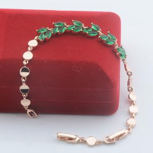 FJ mujeres de belleza verde de circón cúbico 585 color rosa en oro pulsera redonda Toggle cadena (NO RED BOX)