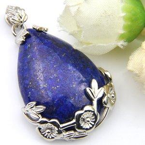 Colgantes Hecho a mano Joyería Natural Lapis Luckyshien Elegante Vintage Plata Collar de Flor de Plata para Colgante Ciruelo Nuevos Colgantes Mujeres Lazuli AAHTB