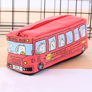 сумка Новая милая школа животных автобус Канцелярские Canvas Pencil Офис школы Канцтовары для хранения