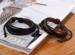 Wrap Multilayer Bracelets en cuir véritable Adjust corde tressée Infinity bracelet Bangle