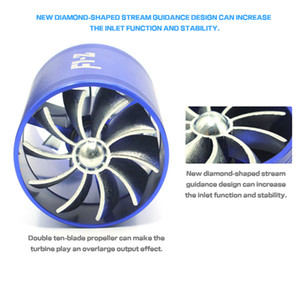 Freeshipping Blue F1-Z Double Supercharger Fuel Gas Saver Fan Prise d'air universelle Turbine Turbine