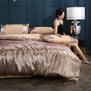 FB1906003TE Tribute Jackquard Bedding Set Luxurious Duvet Cover Set Cotton Embroidery Bedsheets European Stytle Home Textle Queen King Size