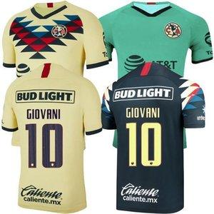 19 20 Club America G. Dos Santos home Yellow soccer jersey R.SAMBUEZA P.AGUILAR 2019 2020 Mexico club soccer shirts third Football Shirts