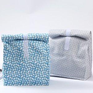 Toile imprimée Boîtes à lunch Sac Écologique Blanc Aluminium Film Boîte à lunch en plein air de pique-nique Sacs Isolation WX9-1865