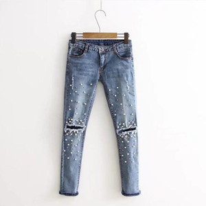 Fashion Light Blue Scratched Hole Jeans Woman Tight Trousers Pearl Decoration Retro Jeans For Women's Clothing