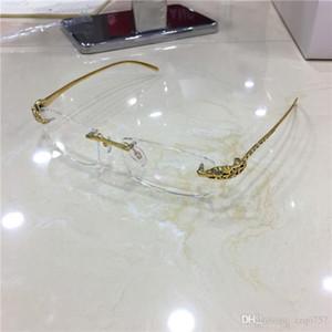 designer de moda vidros óticos clássicos sem moldura de ouro 18k pernas leopardo moldura animais de diamante de alta qualidade pode fazer a prescrição de óculos