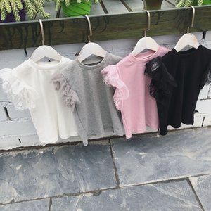 2020 Short Sleeved Girl's Lace T-shirt Jacket Female Baby In Summer Pure Color Fairy T Coat T-shirt Baby Girl Clothes Y200704