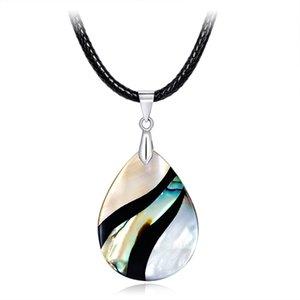 Venta al por mayor hermoso multicolor Abalone Shell gota colgante de moda DIY hecho a mano Lady Necklace para el regalo del partido envío gratis STXL026