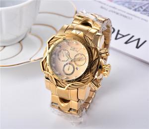 Sıcak Satış INVICTA Marka Saatler Erkek İzle Klasik Stil Büyük Dial Otomatik Tarihi Moda Pembe Altın İzle Relojes de marca