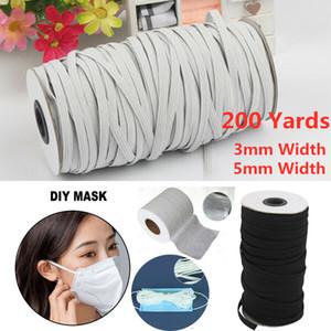 200 Yards 3/5 mm Breite Woven Flach gestrickte elastische Craft Nähen elastische Schnur Band Nähen von Stretch Seil