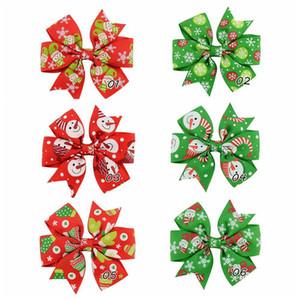 Clipes livre DHL Natal Bebés Meninas Cabelo 3Inch Grosgrain Ribbon Bows com grampos Childrens Xtmas Cabelo Acessórios Crianças Barrette Grampos