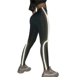 Fashion Reflective Leggins Night Light Stripes Legging Fitness Feminina Printing Leggings Woman Workout Pants Legginsy #LR3