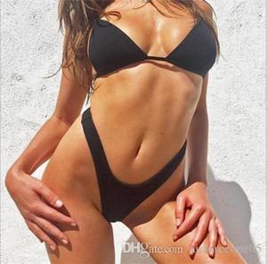 Thong Bikini-reizvolle Badebekleidung Art und Weise Badeanzug beiläufige Strand Jumpsuits Frauen Sommer 2Pcs Soild Farbe Tankinis