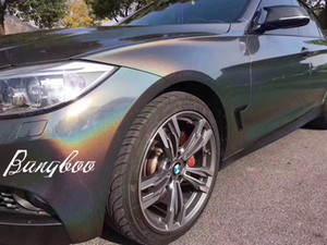 Grey Iridescence Laser Vinile Pellicola Car Wrap Foil Air Bubble Free Vehicle Truck Motocicletta Body Wrapping Dimensioni 1.52x20 metri