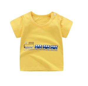 Мода Хлопок Spaceship Мальчики Девочки Футболки Дети Детский мультфильм печати футболки Детские ребенка Верхняя одежда Tee 6M-7T
