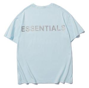 필수 남성 T 셔츠 3M 반사 브랜드 T 셔츠 여름을위한 신선한 블루 문자 인쇄 짧은 소매 티