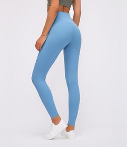 LU-33 Alinear altura de la cintura polainas apretadas pantalones de yoga Marca Gimnasio polainas 2020 Peso ligero para no Seethrough brillante color sólido aptitud Señora Overal